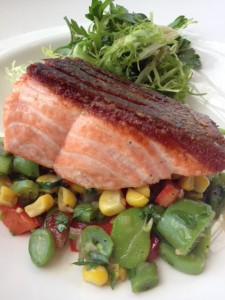 Local Seared King Salmon , Farm fresh vegetables