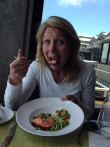 Editor Elaine Harris gives  the King Salmon Dish her seal of approval