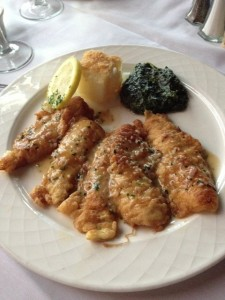 Sand Dabs with a brown butter sauce.