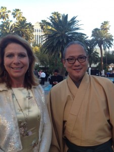 Elaine Harris, Cuisineist Editor-In-Chief and Iron Chef Masaharu Morimoto  Poolside at the Mirage Resort  Las Vegas
