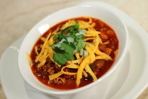 Red Bean Chili Bowl made with red bean chili mix, cilantro leaves, onions and cheddar cheese (260 calories)