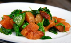 Honey roasted butternut squash, served with baby spinach.