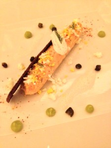 Salmon llettes with fennel, crème fraÎche, dill, egg mimosa and caper emulsion