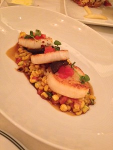 Maine Sea Scallops with sweet corn, king trumpets, tomato and jalapeño